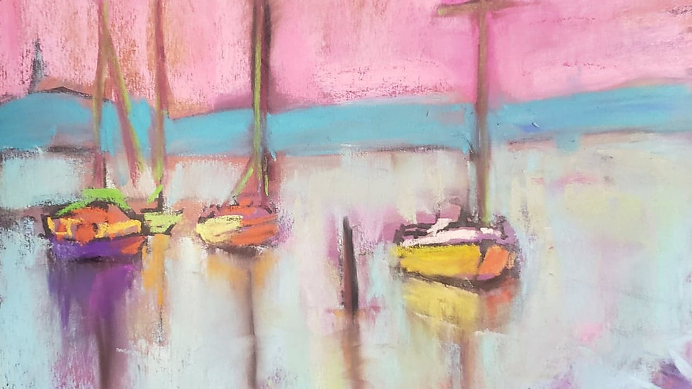 Sailboats and pink sky - pastels - class demo on 12-02-20
