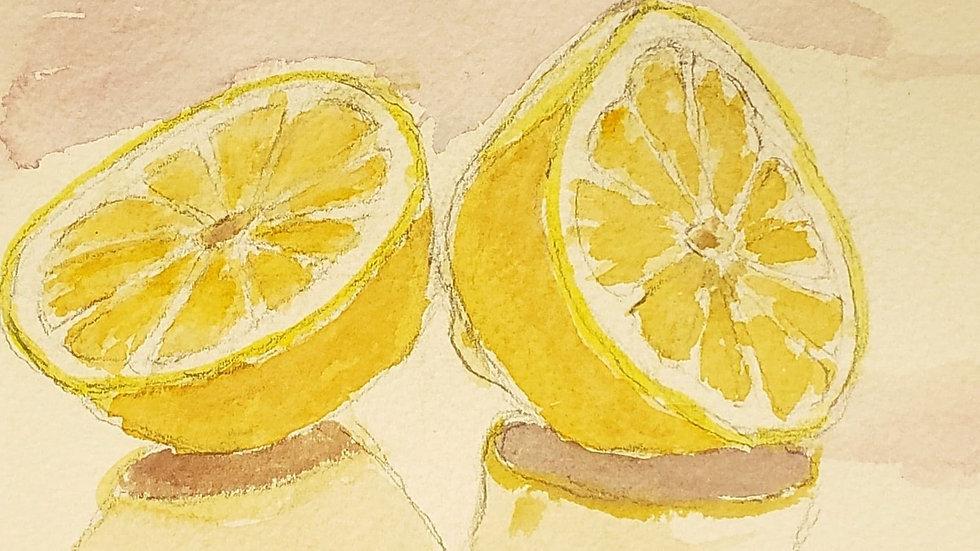Lemons with black matt - watercolor demo -05/21