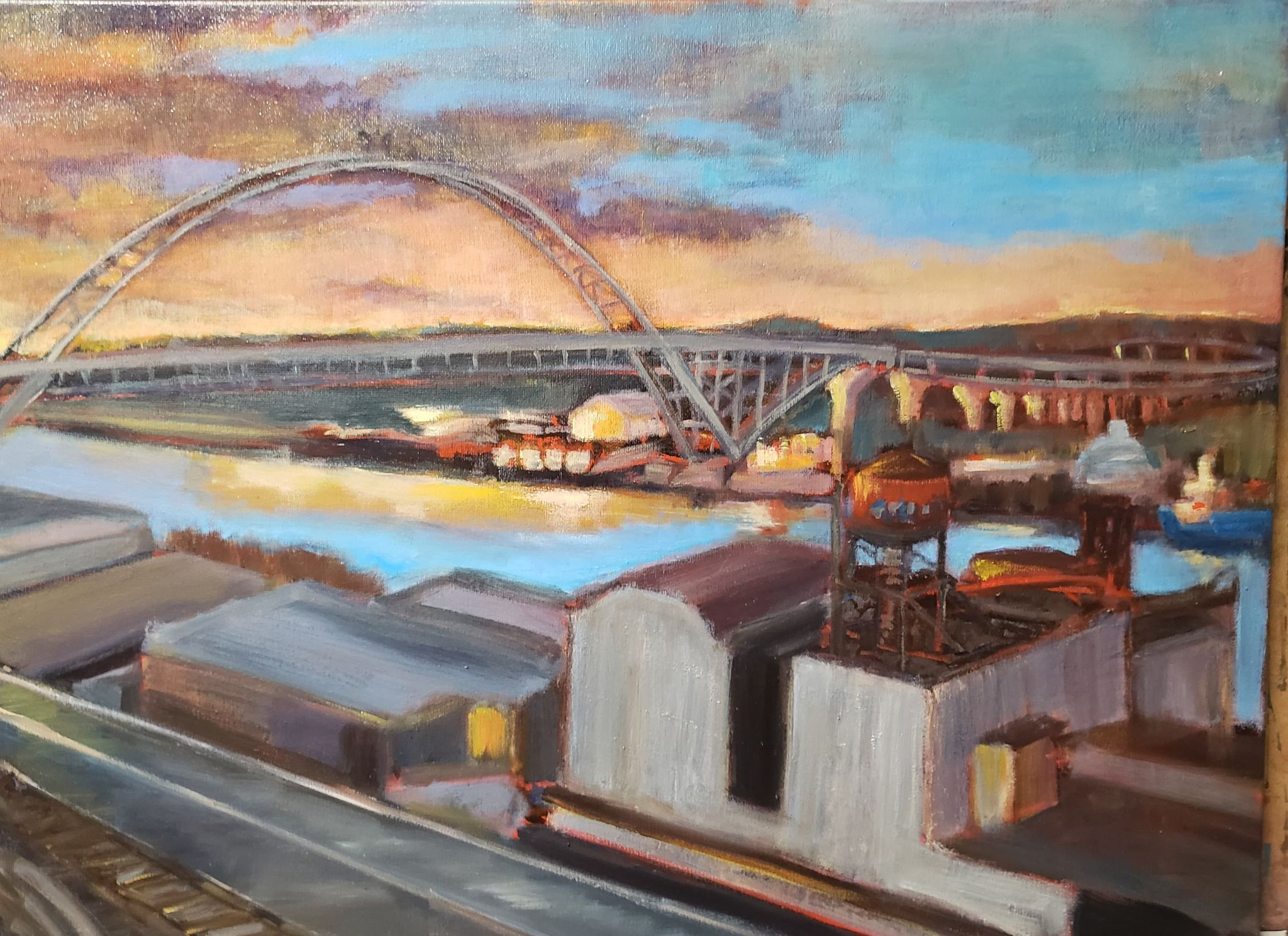 "Bridging industry (The Fremont) - 18x24"" - $500"