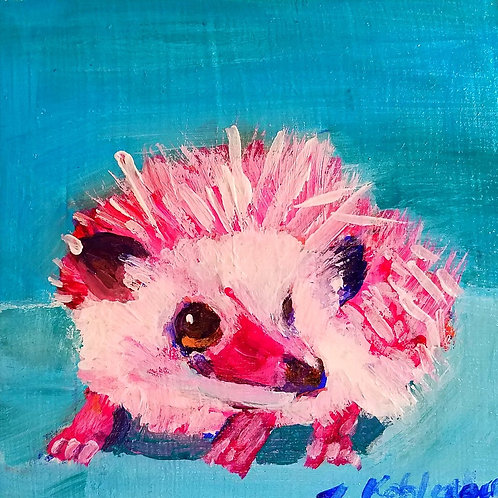 Pink Hedgehog Print - 4x4 inches