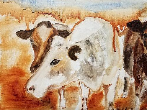 White Spirit Cow - 9 x 12 inches
