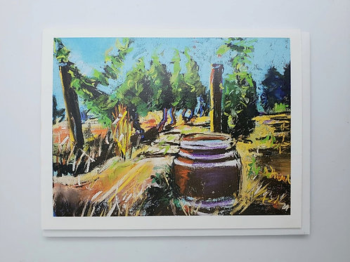 Wine Barrel notecard (blank inside)