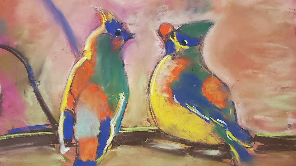 Colorful birds - pastels - class demo on 11-25-20