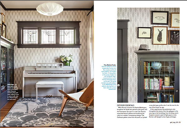 Cottage & Bungalows magazine article featuring Wallingford interior design project.