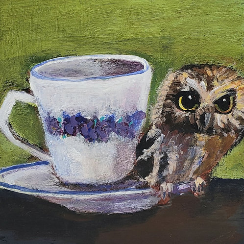 Baby owl on a teacup animal pal print - 4x4 inches