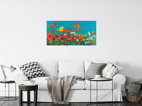 Wildflower Field with Turquoise Sky