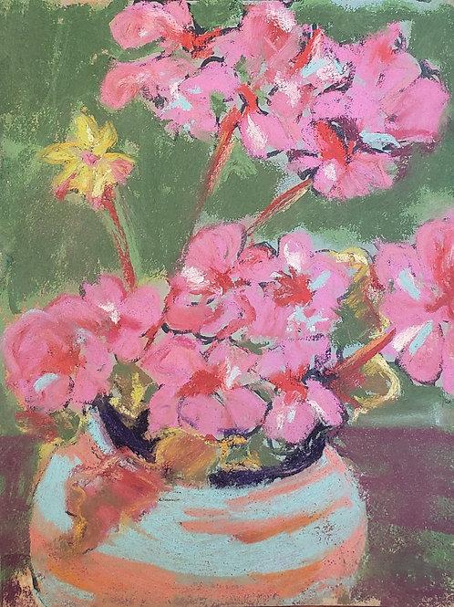 "Geraniums in turquoise pot - 5x7"""