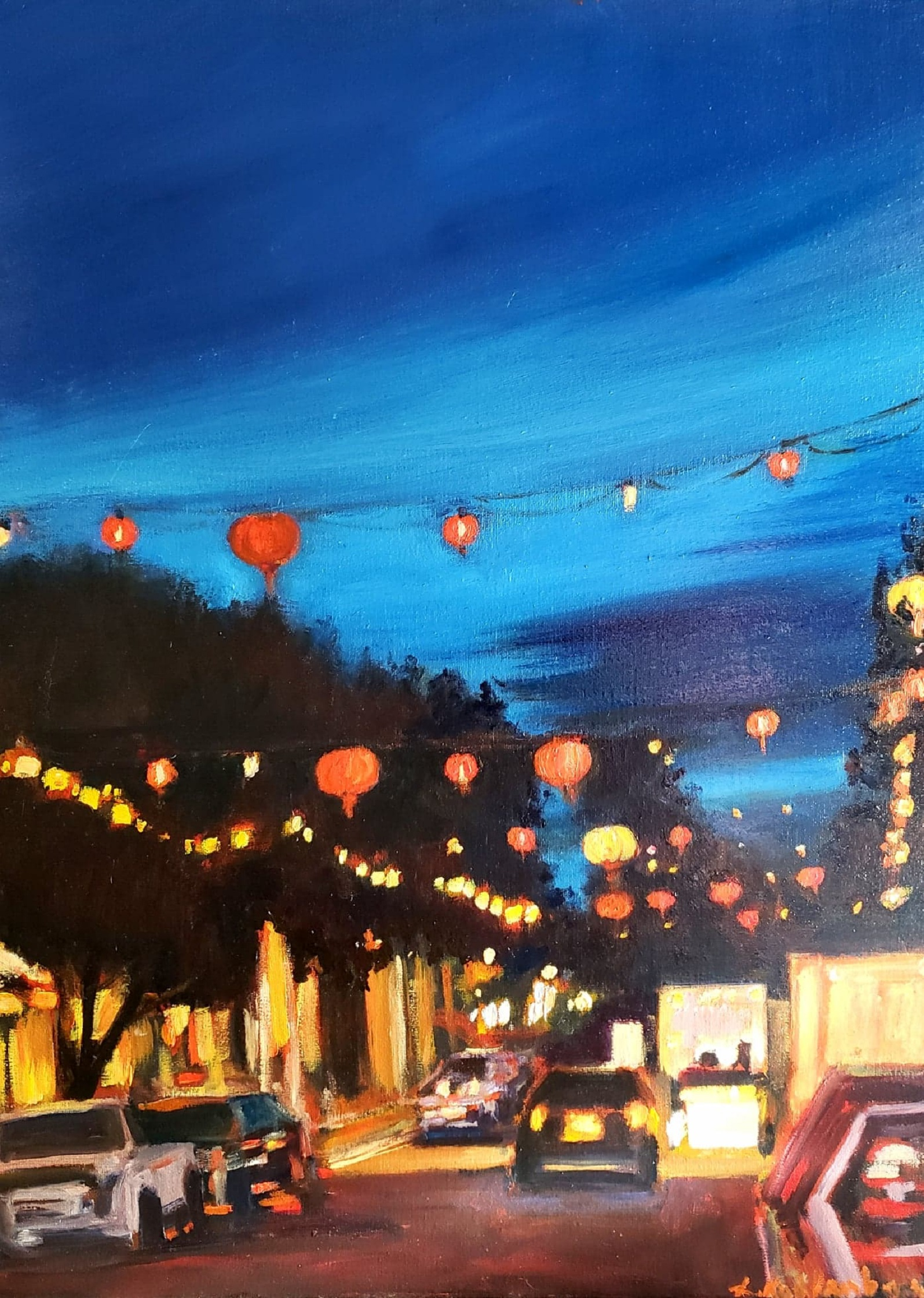 "Red lantern night - 18x24"" - SOLD"