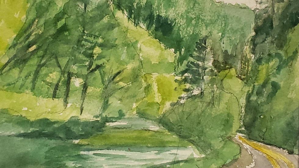 On the Road - landscape watercolor demo -05/21