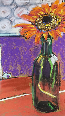 Sunflower in wine bottle - 8x10""