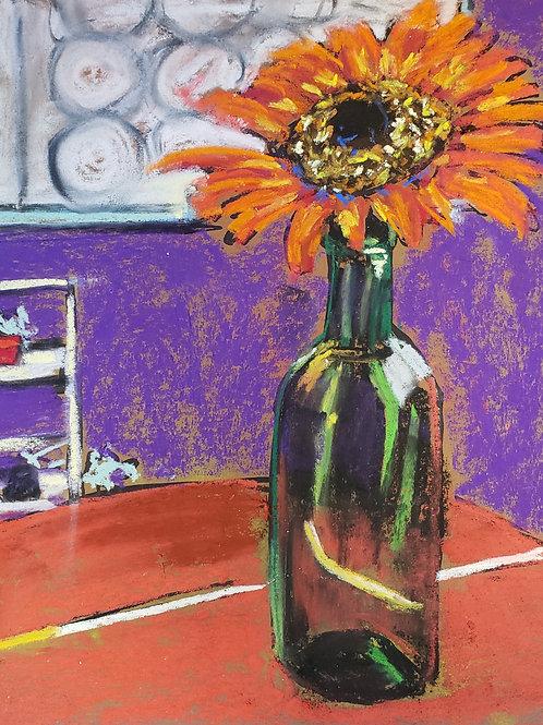 """Sunflower in wine bottle - 8x10"""""""