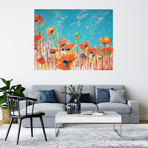 Red Poppies in Turquoise