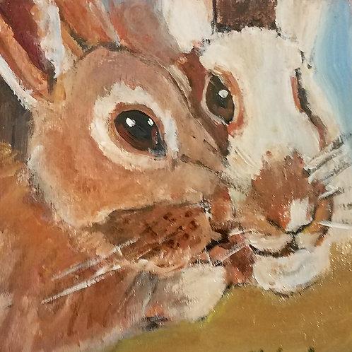 bunny love animal pal print - 4 x 4 inches