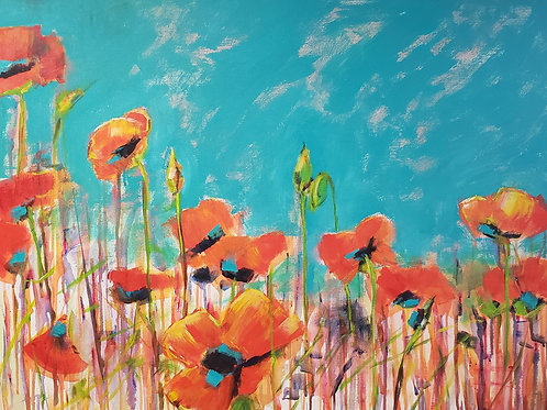 Red Poppies in Turquoise sky