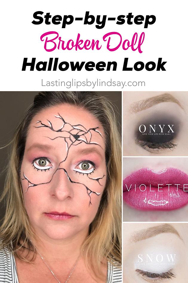 Easy Broken Doll Halloween Makeup Look