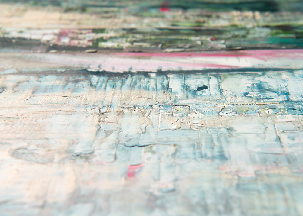 close up of a painting by Jessica Zoob in pinks, blues and greens, showing the texture of the paint