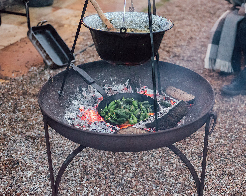 dinner over the fire pit