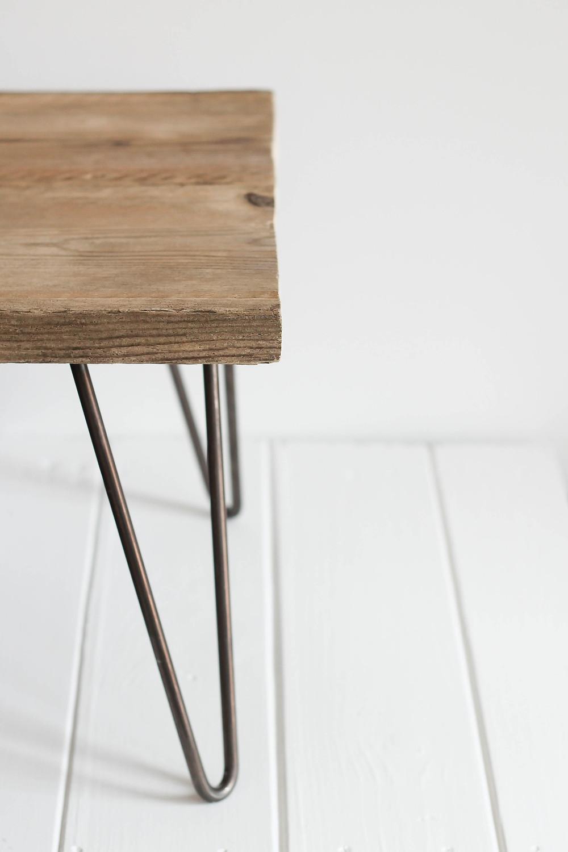 DIY scaffold board table with hairpin legs