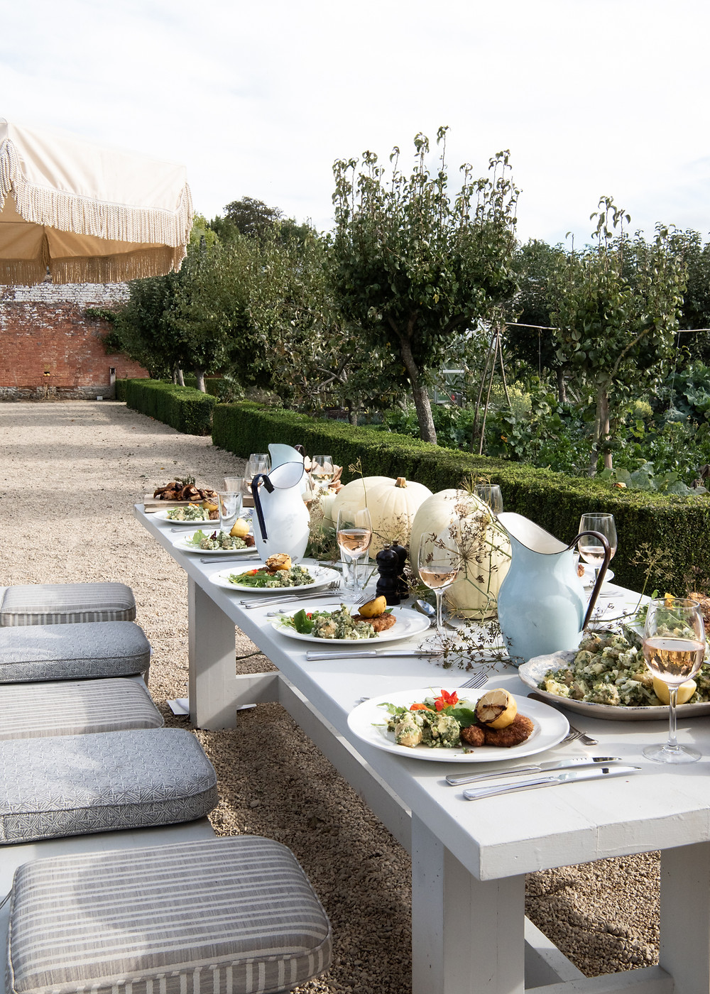 lunch with the help of Anna Barnett Cooks, Babington House, the walled garden