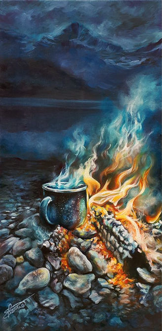 cowboy coffee -  camp fire oil paining by Sherrie Cannellpg