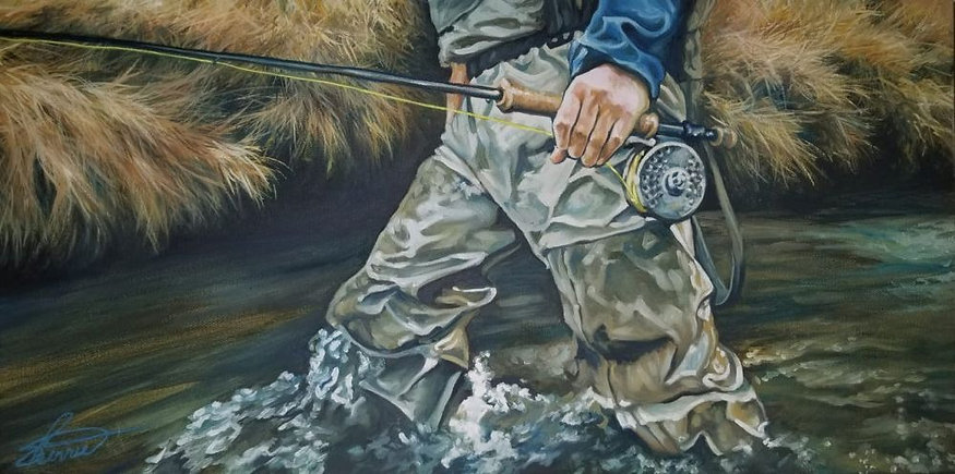 river walk - fly fishing oil painting by Sherrie Cannll