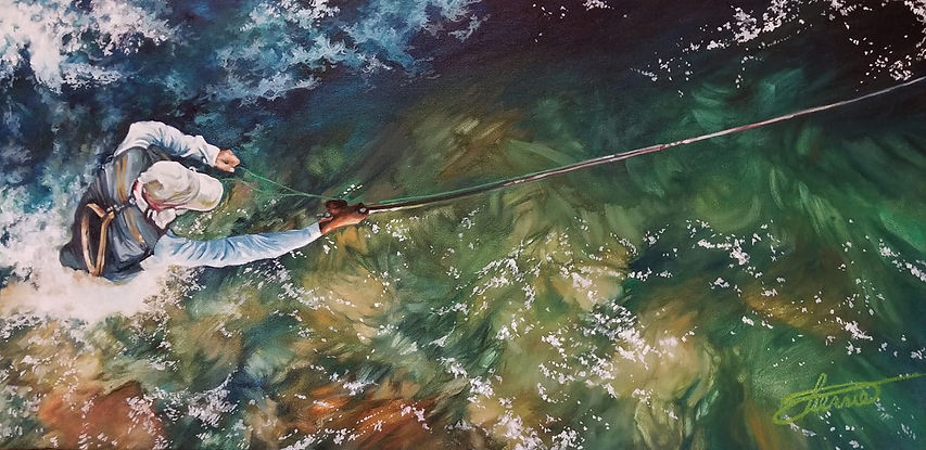 fly above - fly fishing oil painting by Sherrie CannellSherrie
