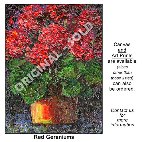 """Red Geraniums - print"""