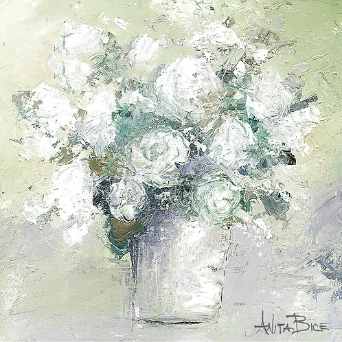 """White Flowers in Green Background_4x4minis"""