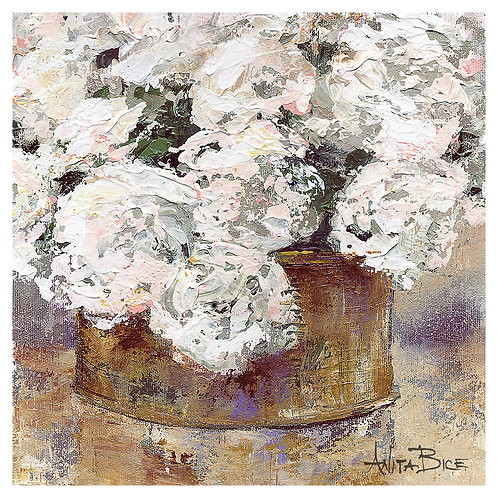 """""""White Flowers in Brass Container"""""""