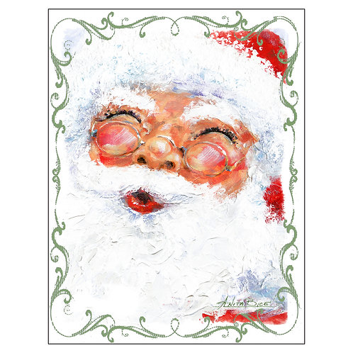 """Santa - 4"" - Flour Sack Tea Towel"