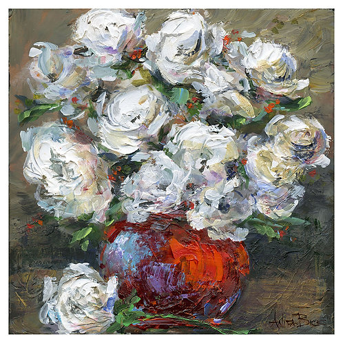 """White Flowers in Red Vase 2"""