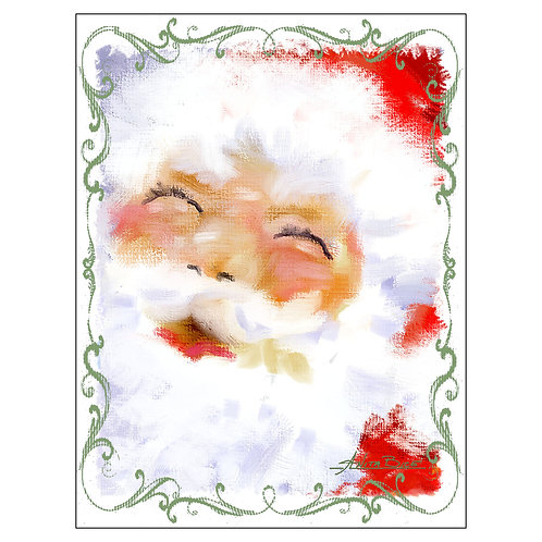 """Santa 1"" - Flour Sack Tea Towel"