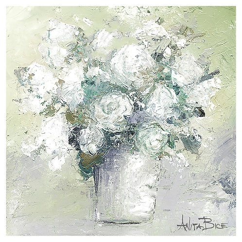 """White Flowers with Green Background"""