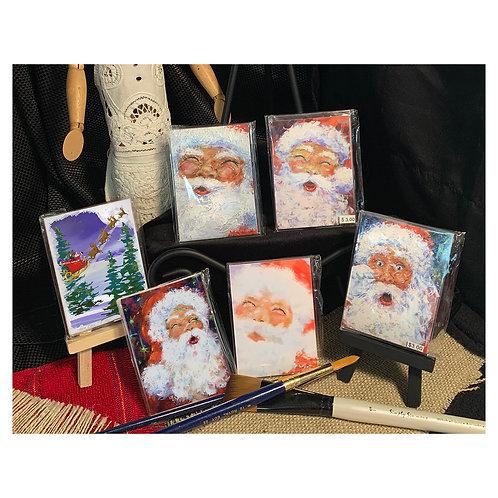"""Magnets_MiniArtPrints - Santas"""