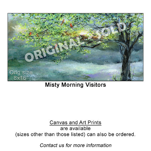 """Misty Morning Visitors - print"""