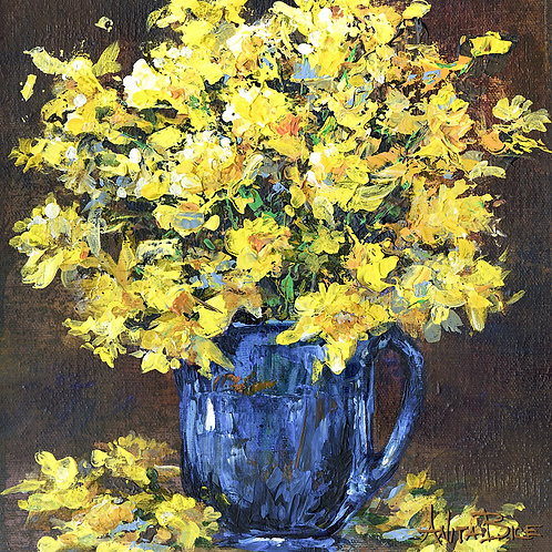 """""""Daffodils in Blue Cup_4x4minis"""""""