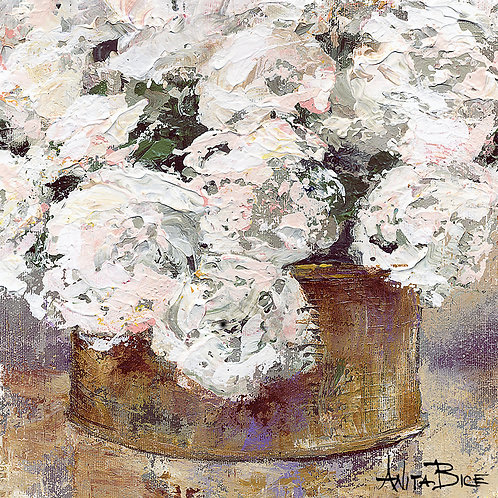 """White Flowers in Brass Container_4x4minis"""