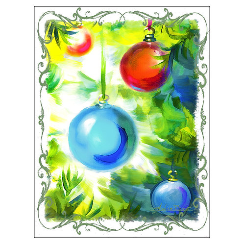 """Ornaments - Blue/Red"" - Flour Sack Tea Towel"
