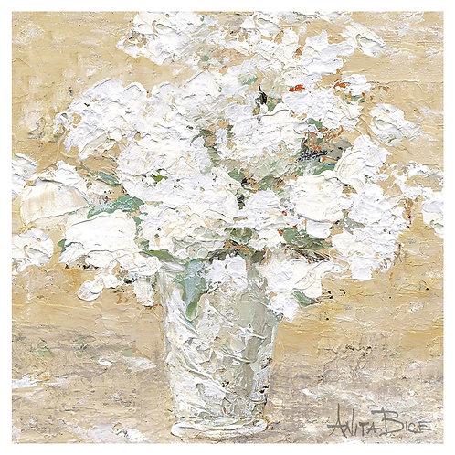 """White Flowers in Milk Pail"""
