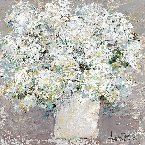 """White Flowers in Grey Background_4x4minis"""