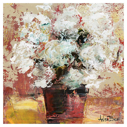 """White Flowers in Red Vase 1"""