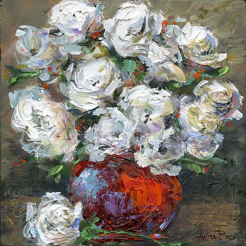 """""""White Flowers in Red Vase_4x4minis"""""""