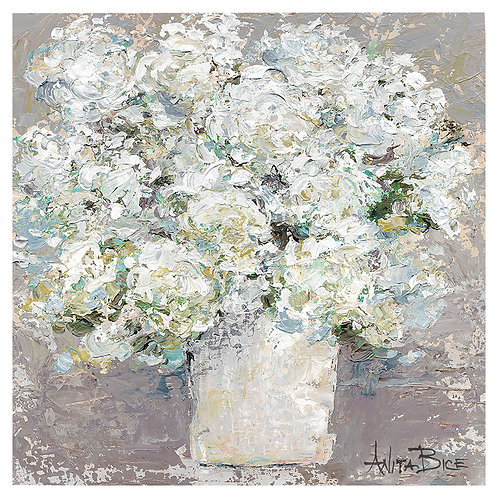 """White Flowers with Gray Background"""