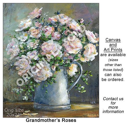 """Grandmother's Roses - print"""