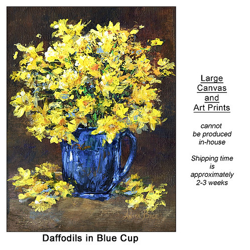 """Daffodils in Blue Cup_large prints"""