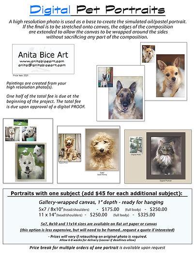 DIGITAL - Pet Portraits price list for c