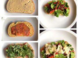 Hummus, Lox & Mixed greens on toast as alight meal