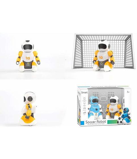 זוג רובוטים של כדורגל עם שלטים ושער