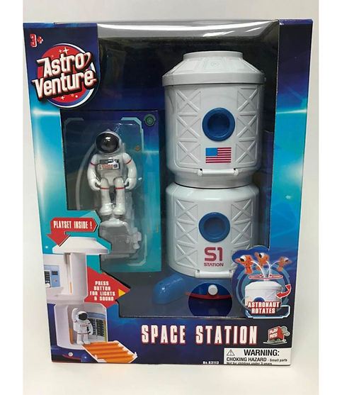 תחנת חלל עם אסטרטנאוט כחול/אדום