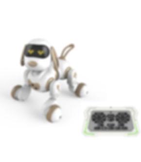 כלב חכם עם שלט וחיבור USB - לבן/זהב